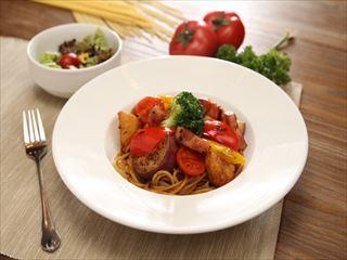 野菜&ベーコンカリースパゲッティ