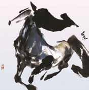 天を駆ける馬の絵画