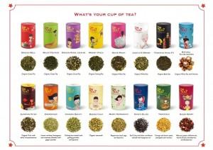 OrTea。全16種類、ウーロン茶、緑茶、フルーツティーなど。