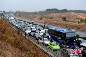 春運の高速公路の混雑