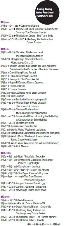 香港藝術節 Hong Kong Arts Festival スケジュール