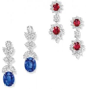 Sapphire & Ruby Drop Earrings