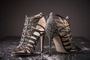 Jimmy Choo:Shimmer Leather Crystal Embellished Sandals
