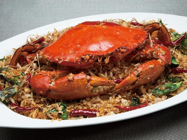 新鮮大振り蟹のカレーソース炒めもの