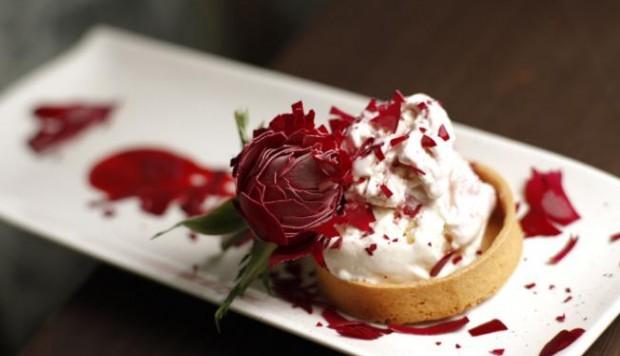Rose Water and Raspberry Ice Cream