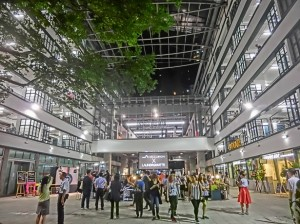 HK_Sheung_Wan_PMQ_mall_Hollywood_Road_night_courtyard_May-2014_visitors-300x224