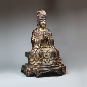10 Chinese gilt-lacquer bronze figure of the Daoist deity Wenchang Wang