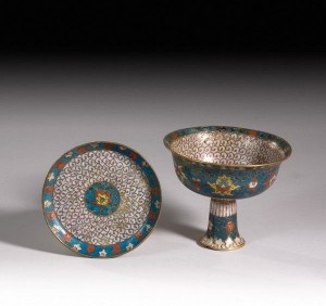 4 Chinese Cloisonne Stem Bowl and Stand
