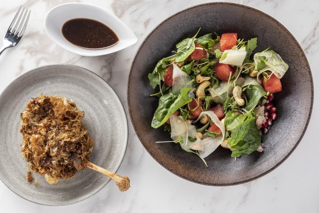 ダックコンフィとスイカのサラダ「Confit Duck Watermelon Salad」