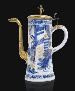 6 Blue and White Porcelain Gilt Metal Mounted Coffee Pot