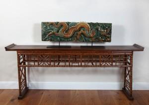 7 Chinese Sancai-Glazed Two-Piece 'Dragon' Tile Panel