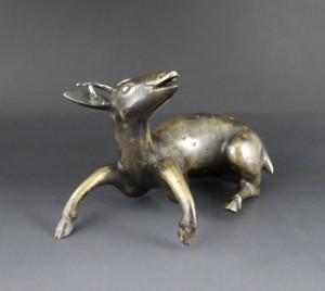 8 Chinese bronze deer joss stick holder