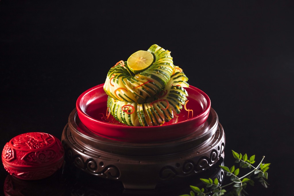 「Cucumber in Lime, Pomelo and Chili Sauce」