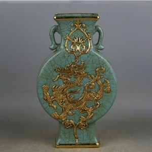 9 Song Dynasty Antique Jingdezhen Guanware Collection Porcelain Vase Inlaid With Gold Dragon and Phoenix Double Ears Vase