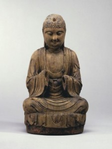 5 WOOD FIGURE OF AMITĀBHA