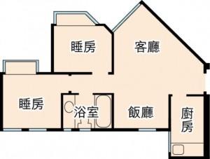 「客廳(リビングルーム)が長方形ではないので、家具の配置が難しい間取り」