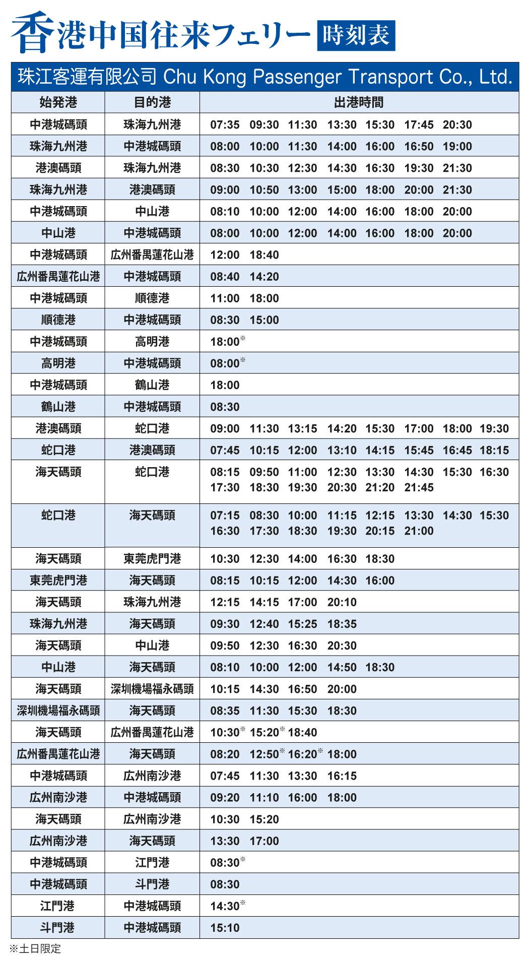 中港城・香港中国往来フェリー時刻表